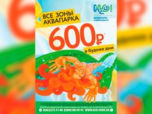 Все зоны аквапарка 600 рублей в будние дни