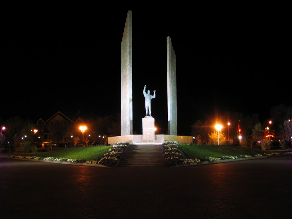 Памятник Ю.А. Гагарина ночью